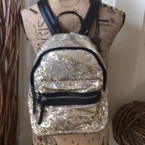 SO Gold & silver sequined backpack w/black handles